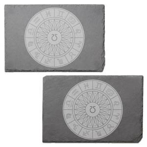 Decorative Horoscope Symbols Engraved Slate Placemat - Set of 2