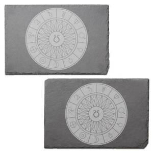 Decorative Planet Symbols Engraved Slate Placemat - Set of 2