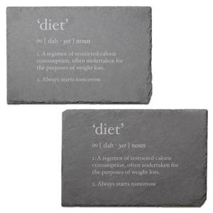Diet - Starts Tomorrow Engraved Slate Placemat - Set of 2