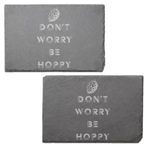 Don't Worry Be Hoppy Engraved Slate Placemat - Set of 2