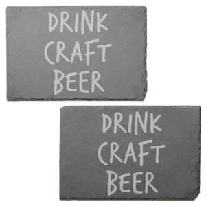 Drink Craft Beer Engraved Slate Placemat - Set of 2