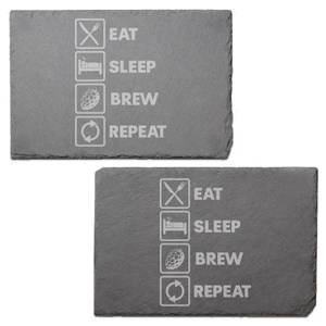 Eat, Sleep, Brew & Repeat Engraved Slate Placemat - Set of 2