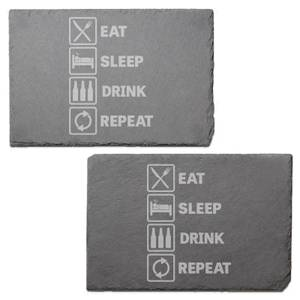 Eat, Sleep, Drink & Repeat Engraved Slate Placemat - Set of 2