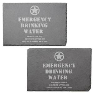 Emergency Drinking Water Engraved Slate Placemat - Set of 2