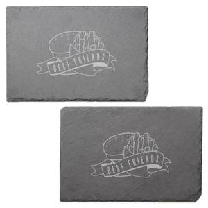 Fast Food Best Friends Engraved Slate Placemat - Set of 2