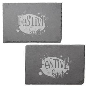Festive Spirit Engraved Slate Placemat - Set of 2