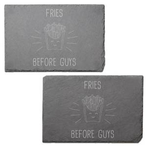 Fries Before Guys Engraved Slate Placemat - Set of 2