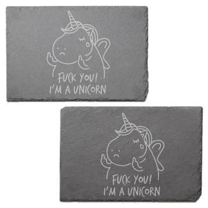Fuck You! I'm A Unicorn Engraved Slate Placemat - Set of 2