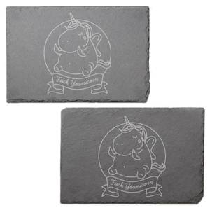 Fuck Younicorn Engraved Slate Placemat - Set of 2