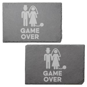 Game Over Bride Engraved Slate Placemat - Set of 2