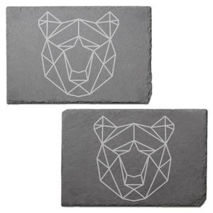 Geometric Bear Head Engraved Slate Placemat - Set of 2