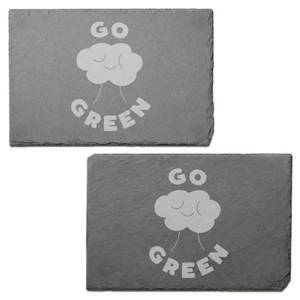 Go Green Engraved Slate Placemat - Set of 2