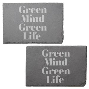 Green Mind Green Life Engraved Slate Placemat - Set of 2