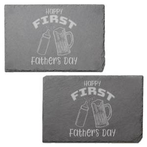 Happy First Fathers Day Engraved Slate Placemat - Set of 2