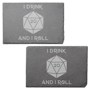 I Drink And I Roll D20 Engraved Slate Placemat - Set of 2