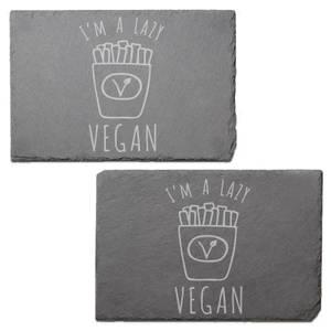 I'm A Lazy Vegan Engraved Slate Placemat - Set of 2