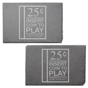 Insert Coin Engraved Slate Placemat - Set of 2