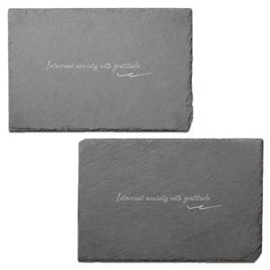 Interrupt Anxiety With Gratitude Engraved Slate Placemat - Set of 2
