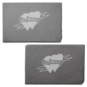 Just Married Engraved Slate Placemat - Set of 2