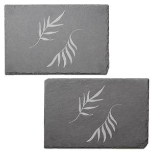 Leaves Engraved Slate Placemat - Set of 2