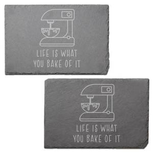 Life Is What You Bake Of It Engraved Slate Placemat - Set of 2