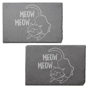 Meow Meow Cat Engraved Slate Placemat - Set of 2