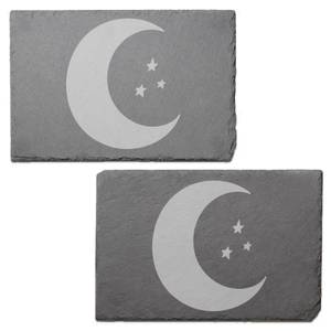 Moon And Stars Engraved Slate Placemat - Set of 2