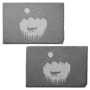 Mountain Scenery Engraved Slate Placemat - Set of 2