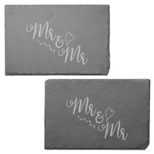 Mr & Mr Engraved Slate Placemat - Set of 2
