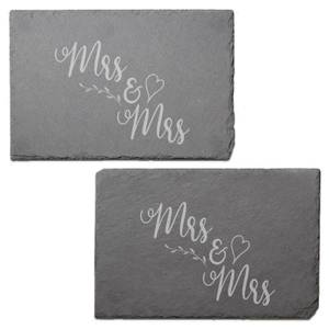 Mrs & Mrs Engraved Slate Placemat - Set of 2