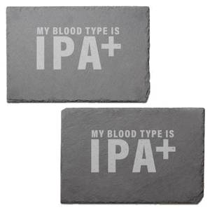 My Blood Type Is IPA+ Engraved Slate Placemat - Set of 2