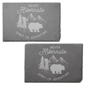 Never Hibernate Engraved Slate Placemat - Set of 2