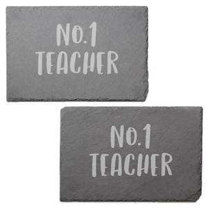 No.1 Teacher Engraved Slate Placemat - Set of 2