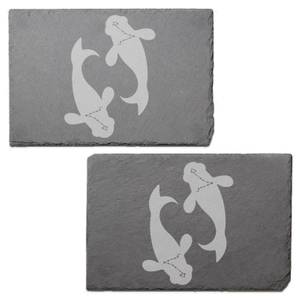 Pisces Engraved Slate Placemat - Set of 2