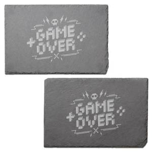 Pixel Game Over Engraved Slate Placemat - Set of 2