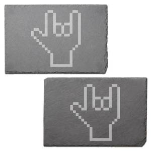 Pixel Rock On Engraved Slate Placemat - Set of 2