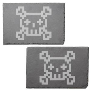 Pixel Skull And Cross Bones Engraved Slate Placemat - Set of 2