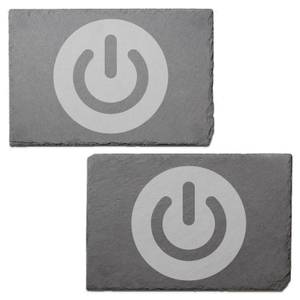 Power On Engraved Slate Placemat - Set of 2