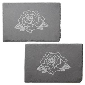 Rose Engraved Slate Placemat - Set of 2