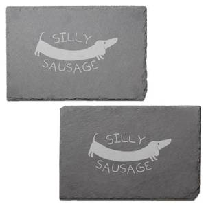 Silly Sausage Engraved Slate Placemat - Set of 2