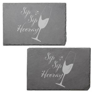 Sip Sip Hooray Engraved Slate Placemat - Set of 2