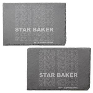 Star Baker With A Hand Shake Engraved Slate Placemat - Set of 2