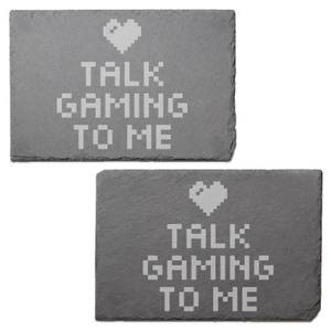 Talk Gaming To Me Engraved Slate Placemat - Set of 2