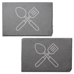 Utensils Engraved Slate Placemat - Set of 2