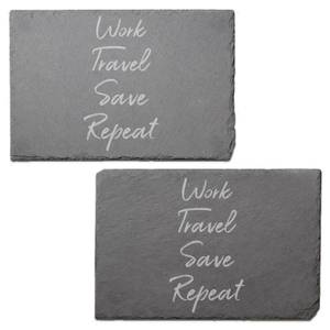 Work, Travel, Save Repeat Engraved Slate Placemat - Set of 2
