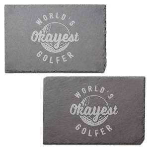 World's Okayest Golfer Engraved Slate Placemat - Set of 2