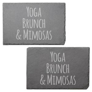 Yoga, Brunch & Mimosas Engraved Slate Placemat - Set of 2
