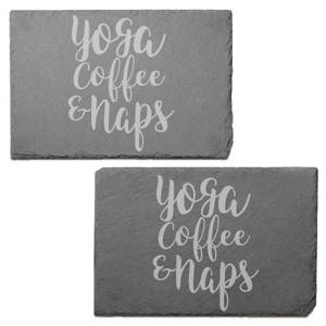 Yoga, Coffee And Naps Engraved Slate Placemat - Set of 2