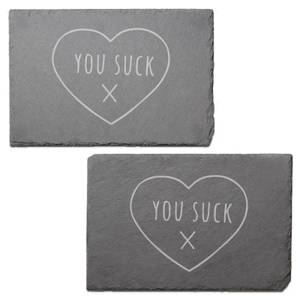 You Suck Engraved Slate Placemat - Set of 2