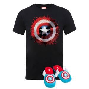 Lot Captain America T-shirt et Pantoufles - Pantoufles tailles L/XL